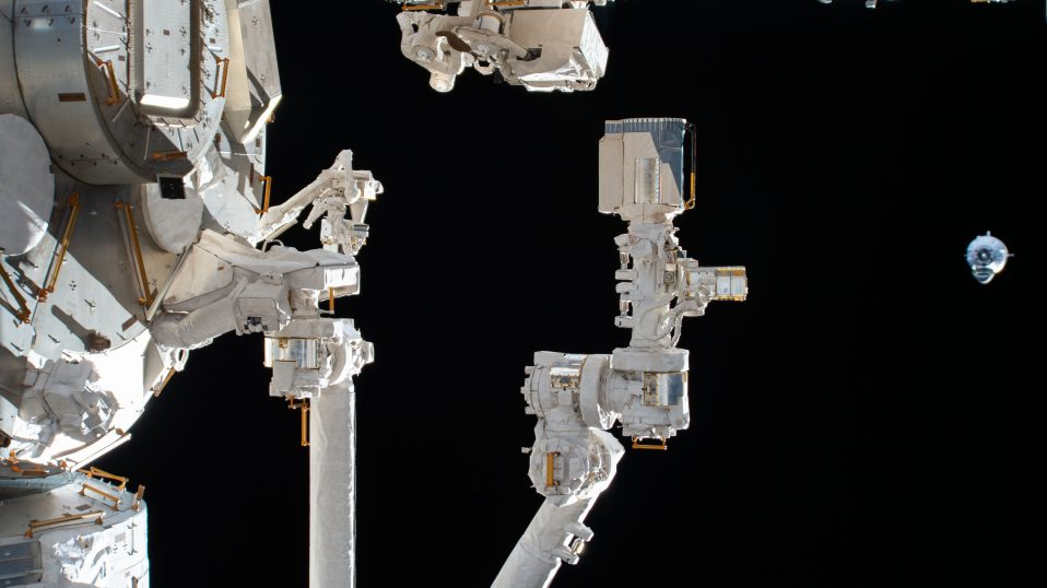 SpaceX Crew Dragon appraoches the ISS for docking