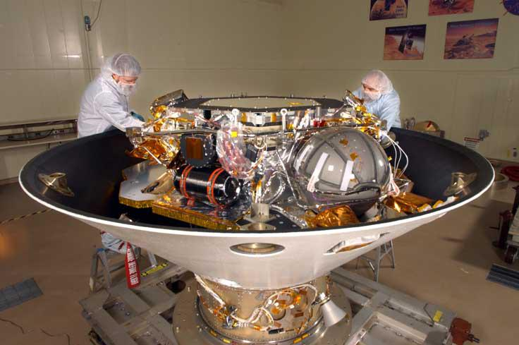 NASA's Phoenix Lander housed inside Lockheed Martin's 100,000-class clean room in Colordao.