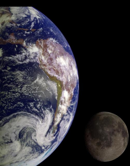 Combined images of the Earth and Moon from NASA's Galileo spacecraft.