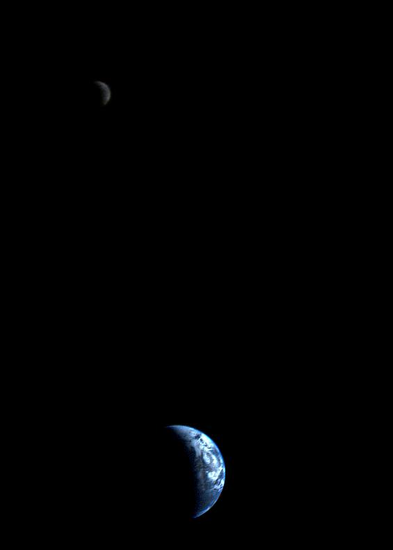 On Sept. 18, 1977, Voyager 1 took this first-of-its-kind shot of a crescent-shaped Moon and Earth.