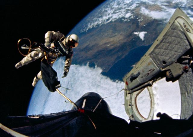 Ed White floats in space during the first American spacewalk.
