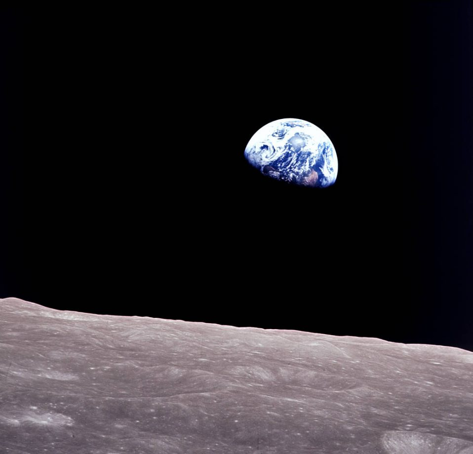 Earthrise, as captured by the crew of Apollo 8.