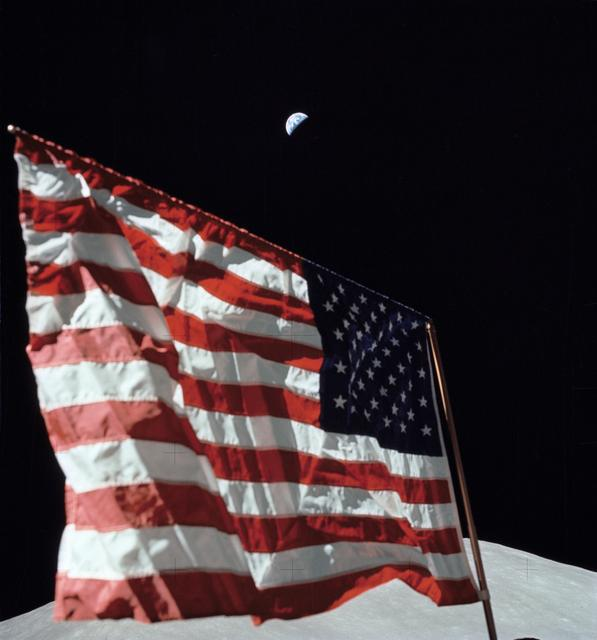 Close-up image of the flag deployed by the Apollo 17 crew.