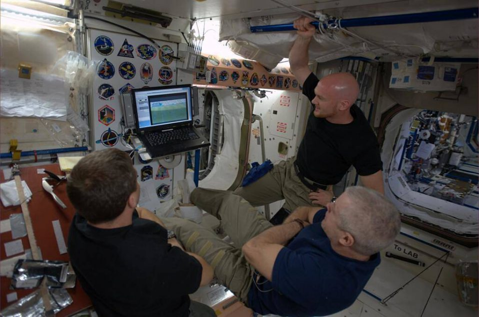 Astronauts watch the World Cup in 2014