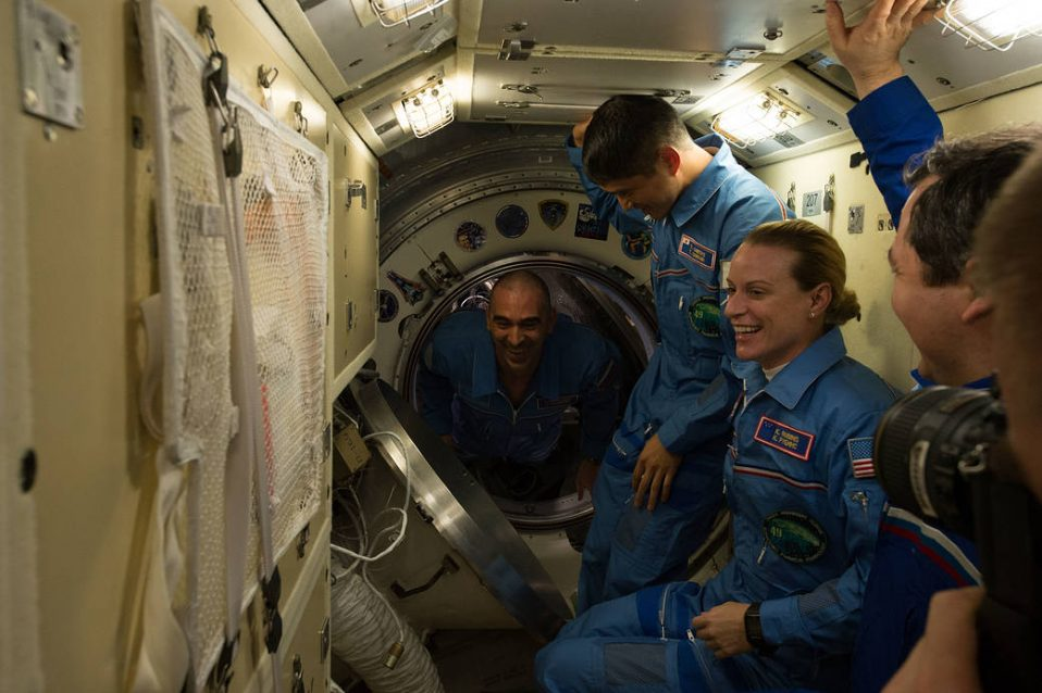 Expedition 48 crew members are welcomed aboard the ISS