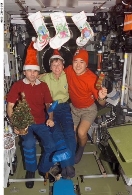 Expedition 16 crew at Christmas