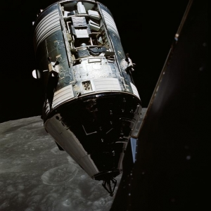 View of the command and service module above the Moon as seen from the lunar module