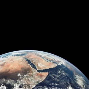 A different view of the Earth as photographed by the Apollo 17 crew while traveling to the Moon
