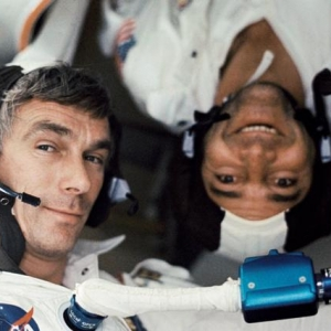 Eugene Cernan and Ronald Evans photographed during the Apollo 17 mission