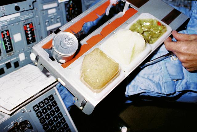 Space food on tray